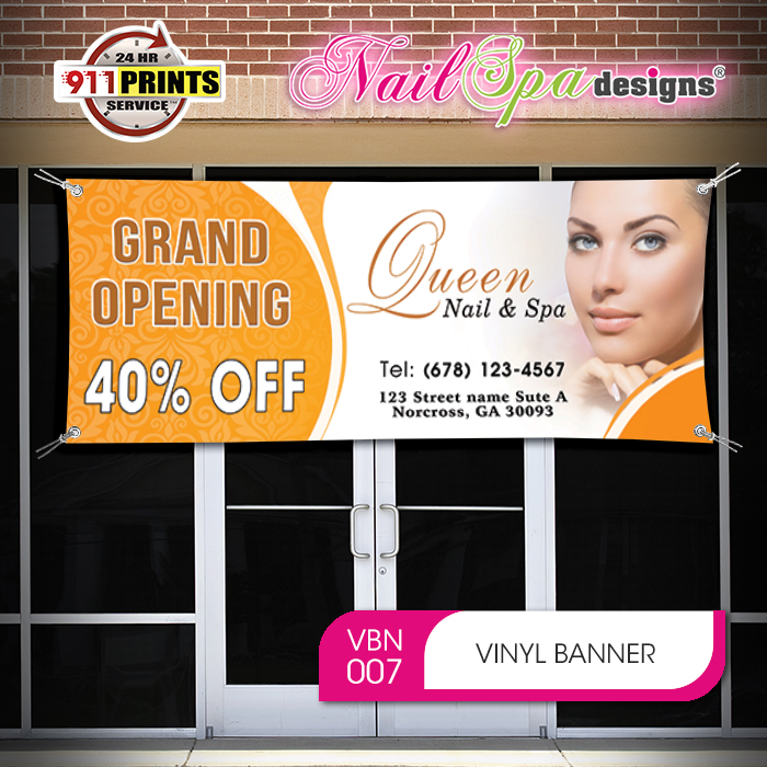 Nail Spa Vinyl Banner Nsd Vbn007 Salon Prints One Stop Shop Printing Marketing For Nail Spa Hair Salon Barber Shop Beauty Salon Beauty Schools Beauty Supply