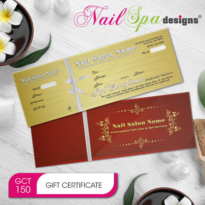 Nail Spa Gift Certificate Envelope Nsd Gct150 Salon Prints One Stop Shop Printing Marketing For Nail Spa Hair Salon Barber Shop Beauty Salon Beauty Schools Beauty Supply
